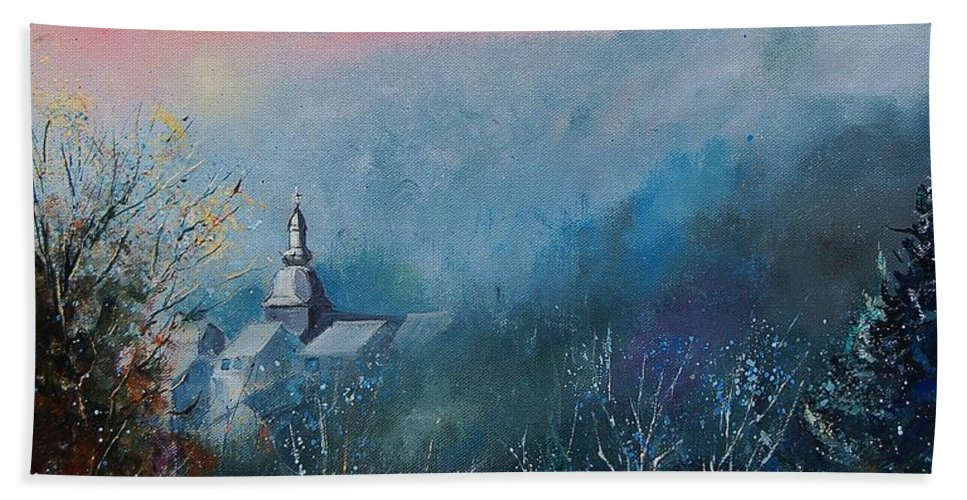 Winter Beach Towel featuring the painting Morning Frost by Pol Ledent