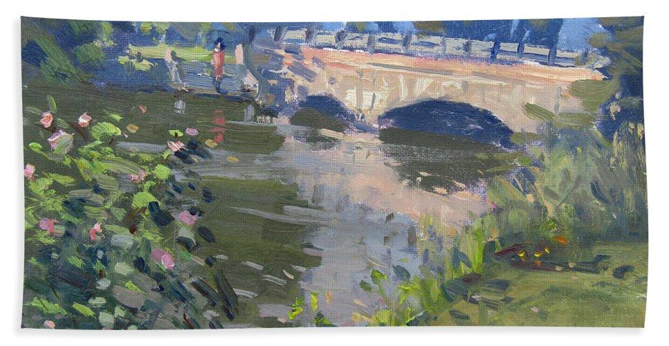 Morning Light Beach Towel featuring the painting Morning Light At Hyde Park by Ylli Haruni