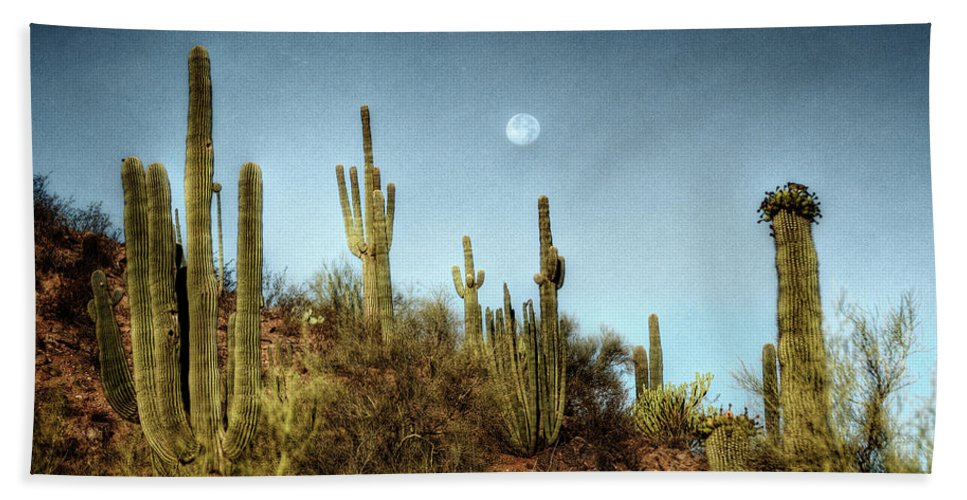 Arizona Beach Towel featuring the photograph Morning Moon by Saija Lehtonen