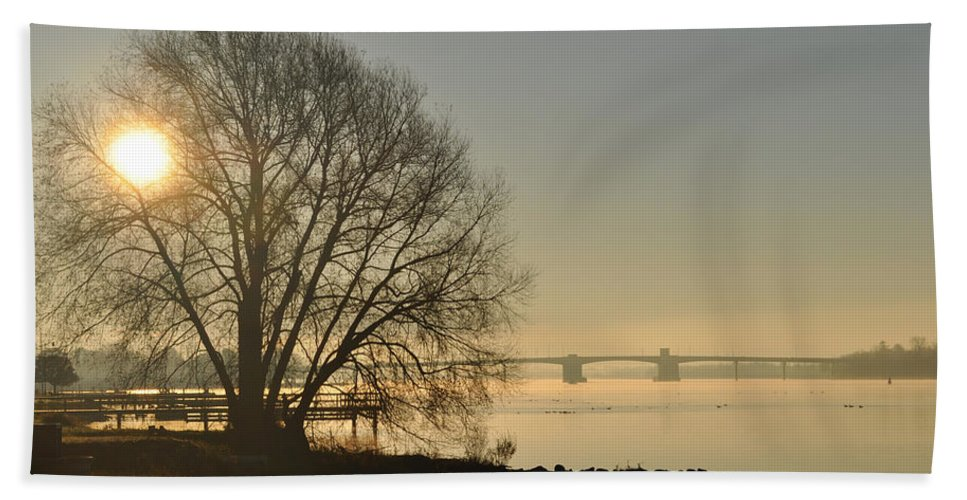 Water Beach Towel featuring the photograph Morning On The Bay Bridge by Tim Nyberg