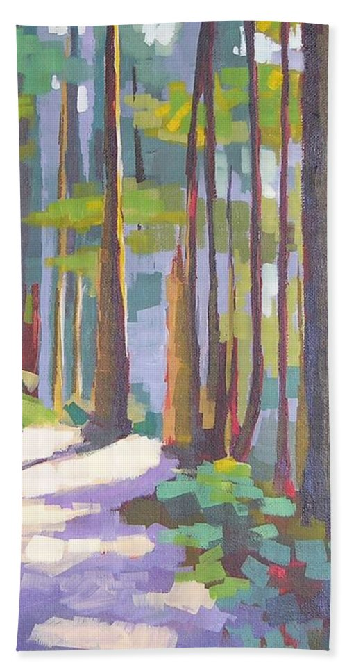 Landscape Beach Towel featuring the painting Morning On The Trail by Mary McInnis