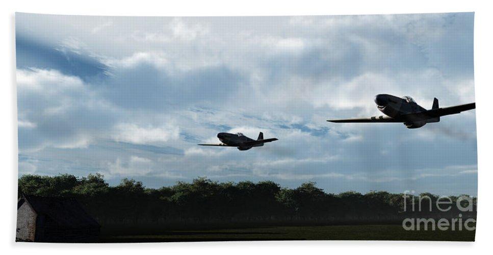 Aircraft Beach Towel featuring the digital art Morning Run by Richard Rizzo