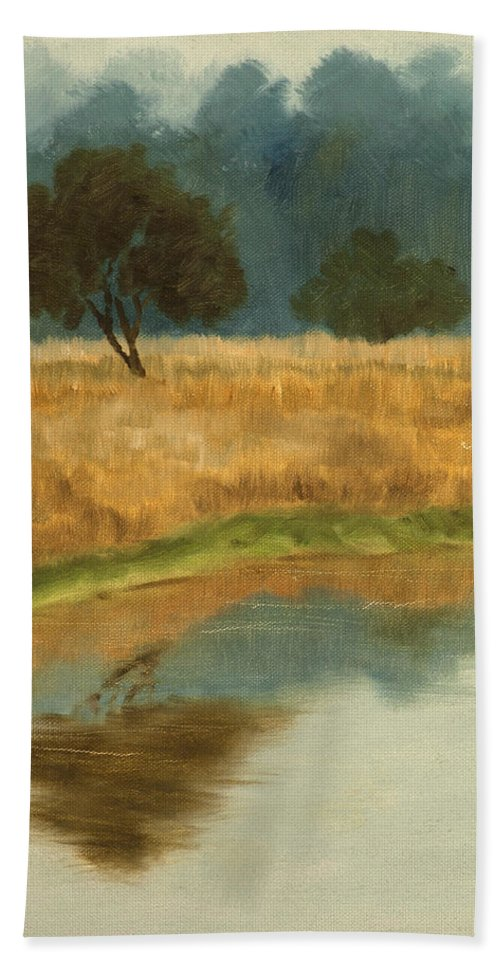 Landscape Beach Towel featuring the painting Morning Still by Mandar Marathe