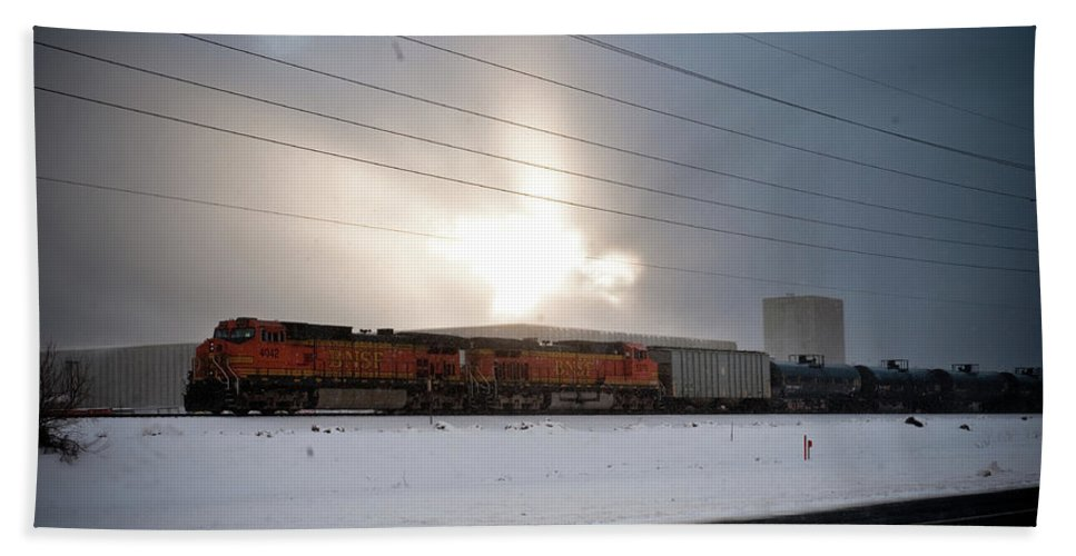 Seshat Beach Towel featuring the photograph Morning Train by Scott Sawyer