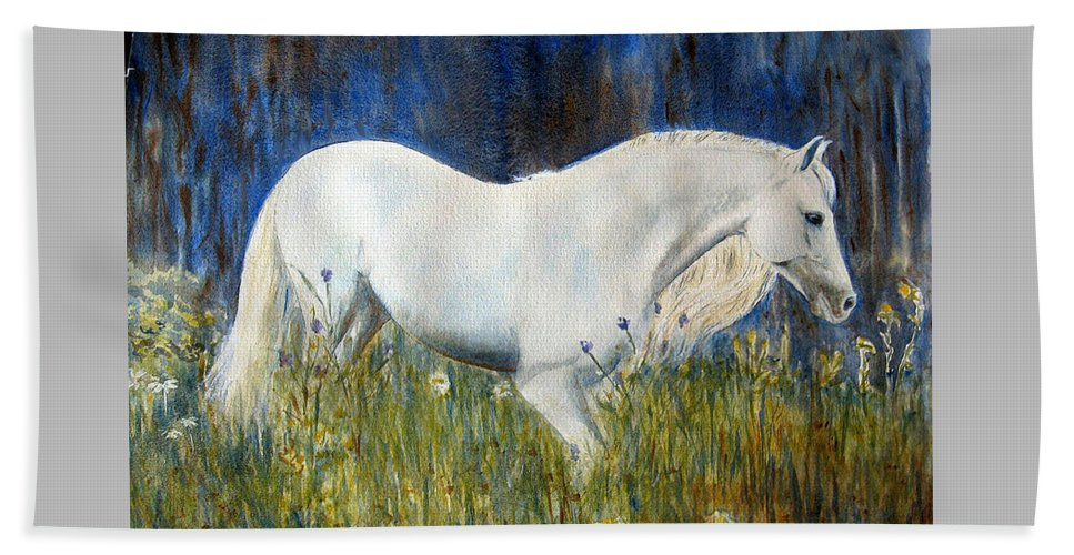 Horse Painting Beach Sheet featuring the painting Morning Walk by Frances Gillotti