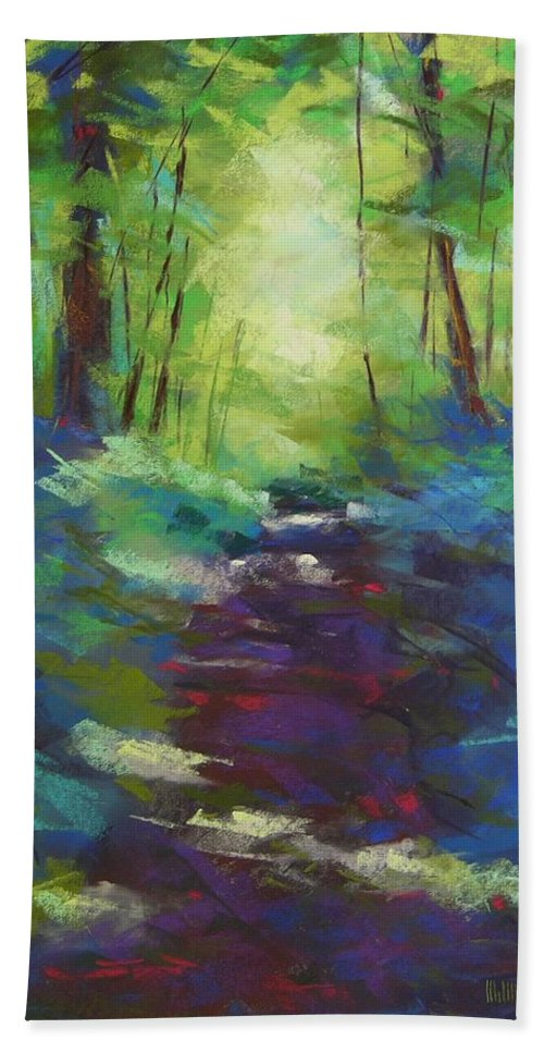 Pastel Beach Towel featuring the painting Morning Walk I by Mary McInnis