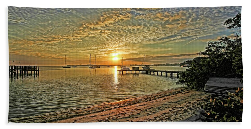 Longboat Key Florida Beach Towel featuring the photograph Mornings Embrace by HH Photography of Florida