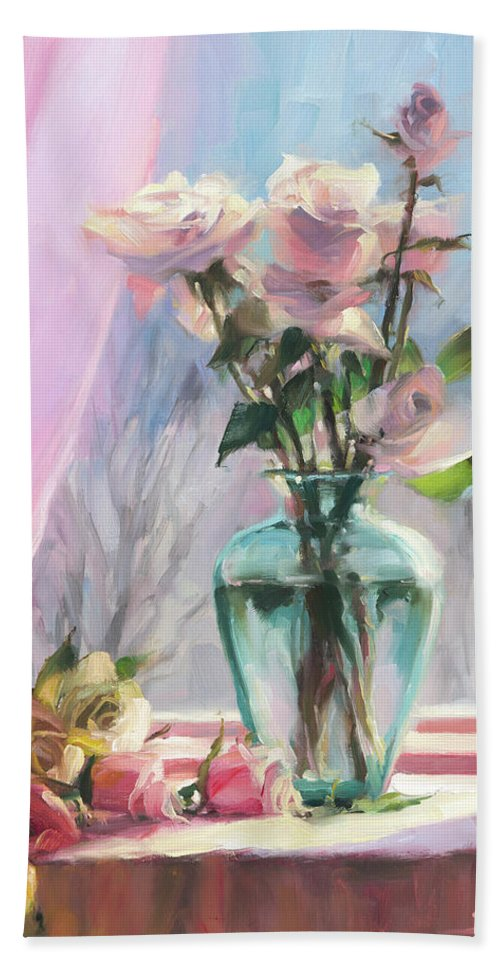 Flowers Beach Towel featuring the painting Morning's Glory by Steve Henderson