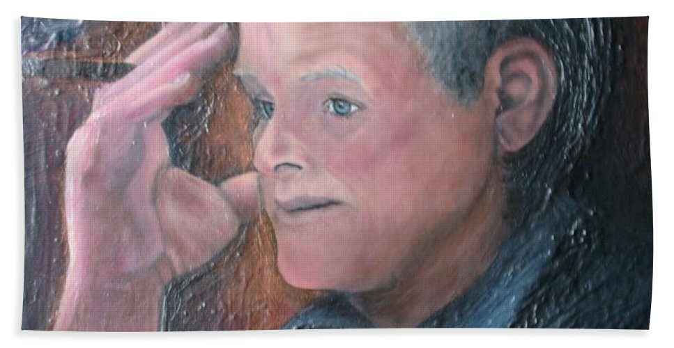 Portrait Beach Towel featuring the painting Morris by Regina Brandt