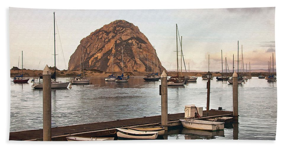 Morro Bay Beach Towel featuring the digital art Morro Bay Small Pier by Sharon Foster