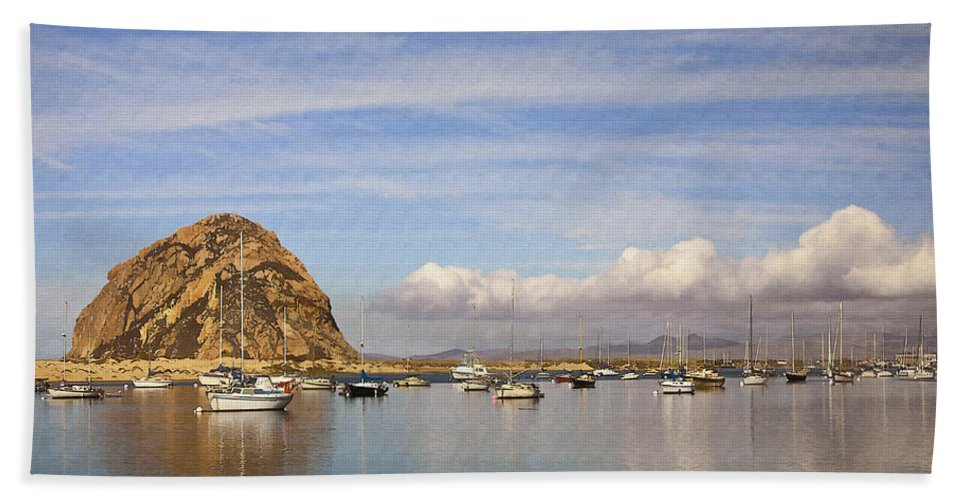 Morro Bay Beach Towel featuring the digital art Morro Harbor And Rain Clouds by Sharon Foster