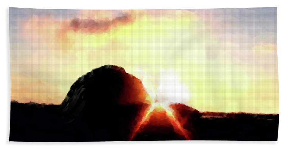 Morro Rock At Sunset Beach Towel featuring the painting Morro Rock At Sunset by Methune Hively