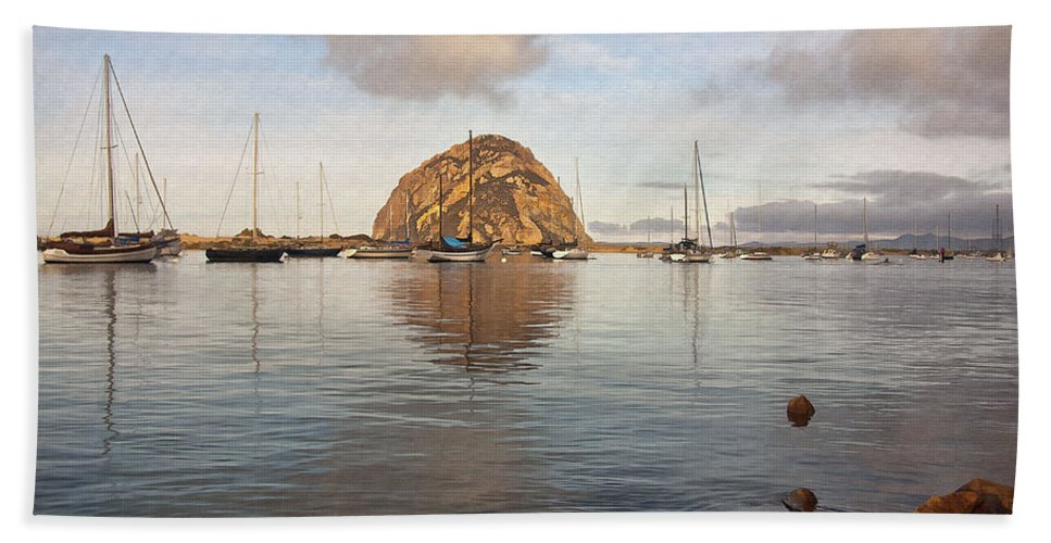Morro Bay Beach Towel featuring the digital art Morro Rocks by Sharon Foster