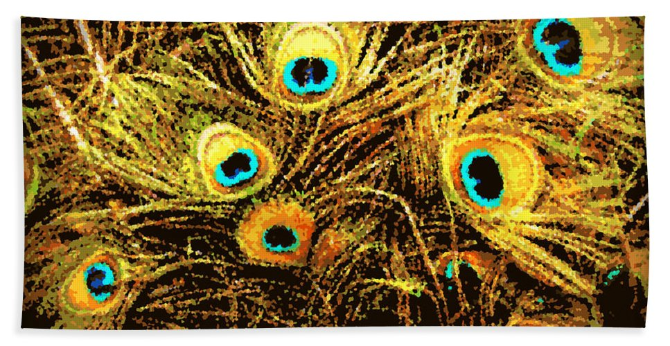 Peacock Beach Towel featuring the photograph Mosaic Feathers by Tina Meador