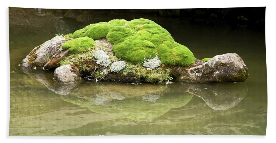 Rock Turtle Beach Towel featuring the photograph Mossy Turtle Rock by Sally Weigand