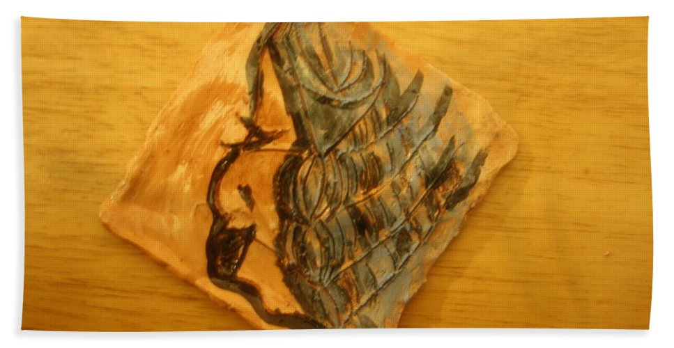 Jesus Beach Towel featuring the ceramic art Mother - Tile by Gloria Ssali