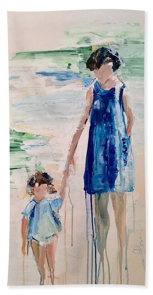 Family Beach Towel featuring the painting Mother And Child by Denise Morencie