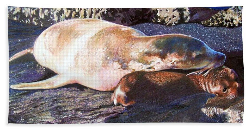 Sea Lion Beach Towel featuring the mixed media Mother And Child Sea Lion by Constance Drescher
