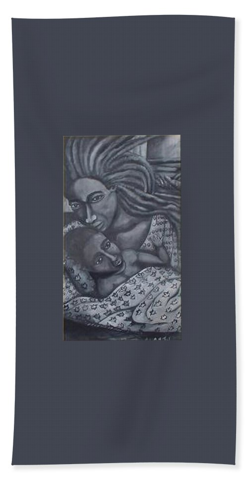 Mother Taking Care Of Child Beach Towel featuring the painting Mother And Son by Andrew Johnson