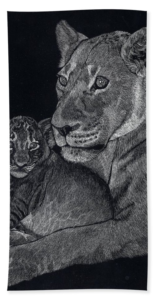 Lion Beach Towel featuring the drawing Mothers Arms by Yenni Harrison