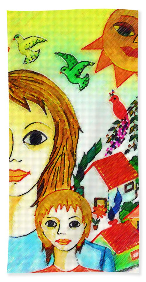 Mothers Day Beach Towel featuring the painting Mother's Day by Madalena Lobao-Tello