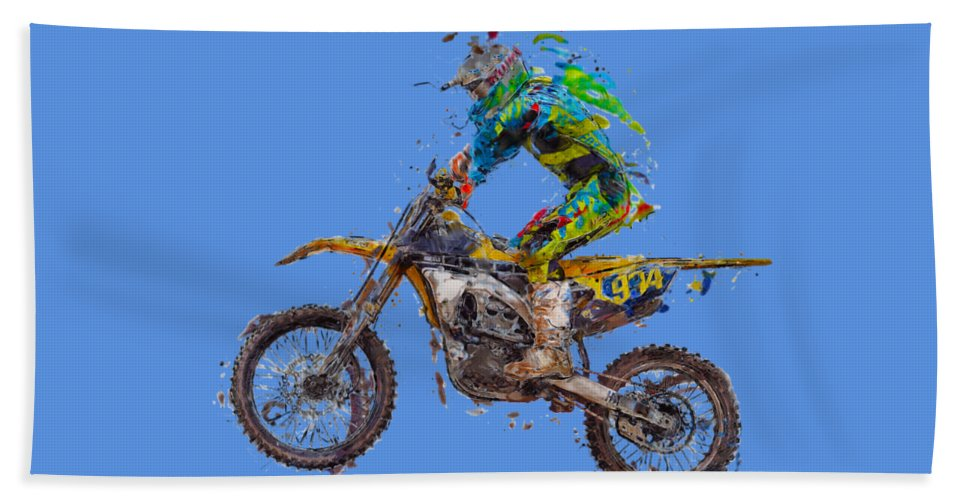Action Beach Towel featuring the photograph Motorbiker by Roy Pedersen