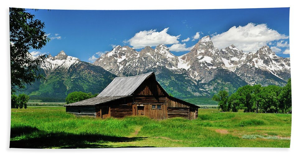 Grand Teton National Park Beach Towel featuring the photograph Moulton Barn by Greg Norrell