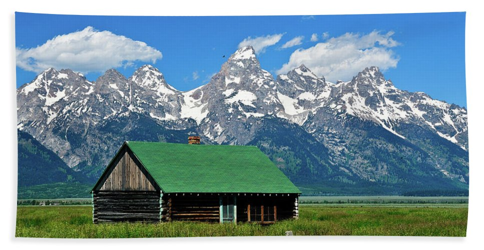 Grand Teton National Park Beach Towel featuring the photograph Moulton Cabin by Greg Norrell