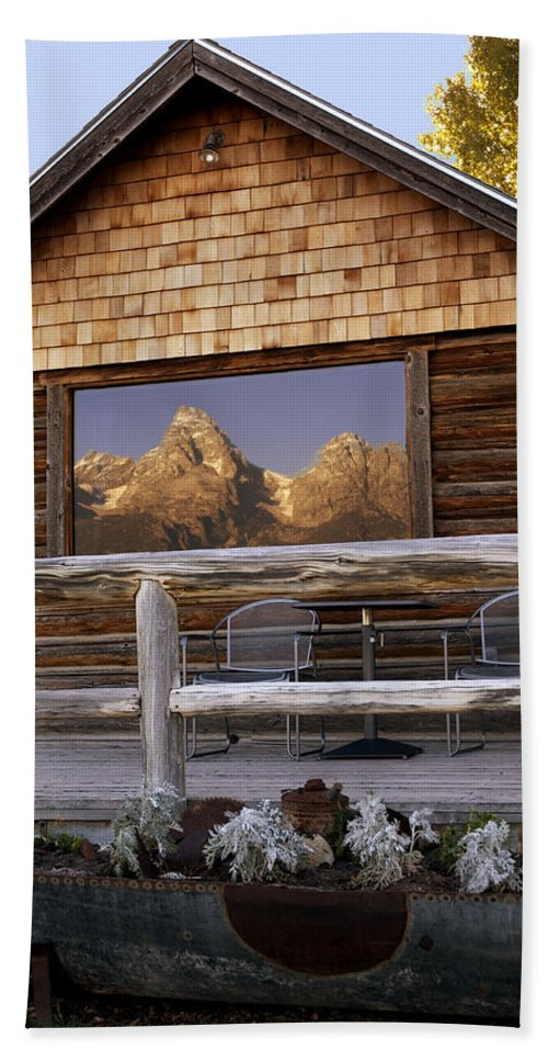Late Snow Beach Towel featuring the photograph Moulton Ranch Cabin Reflection Grand Tetons by Gary Langley