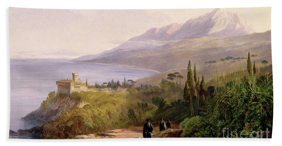 Mount Athos And The Monastery Stavroniketes Beach Towel featuring the painting Mount Athos And The Monastery Of Stavroniketes by Edward Lear