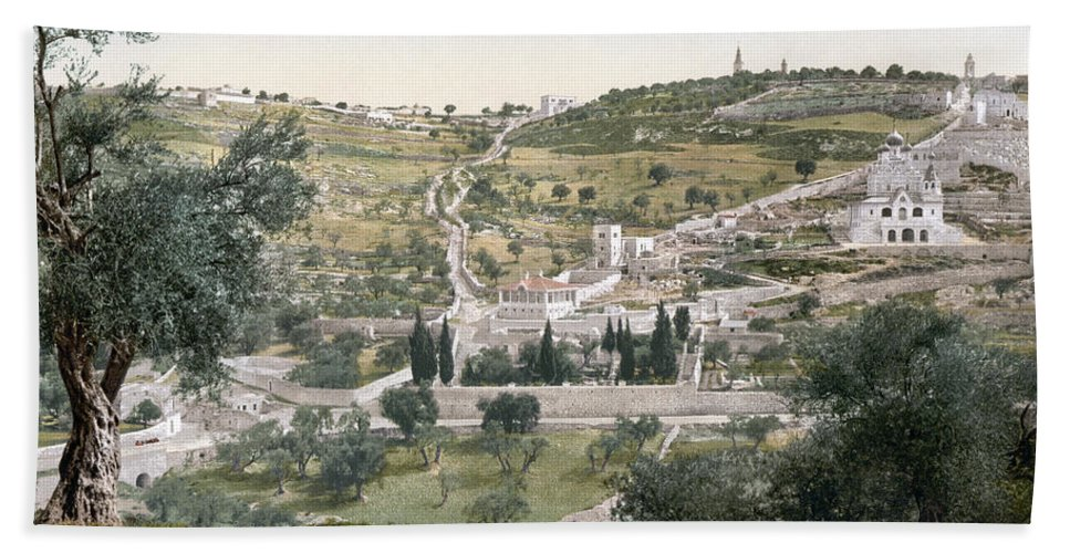 1900 Beach Towel featuring the photograph Mount Of Olives, C1900 by Granger