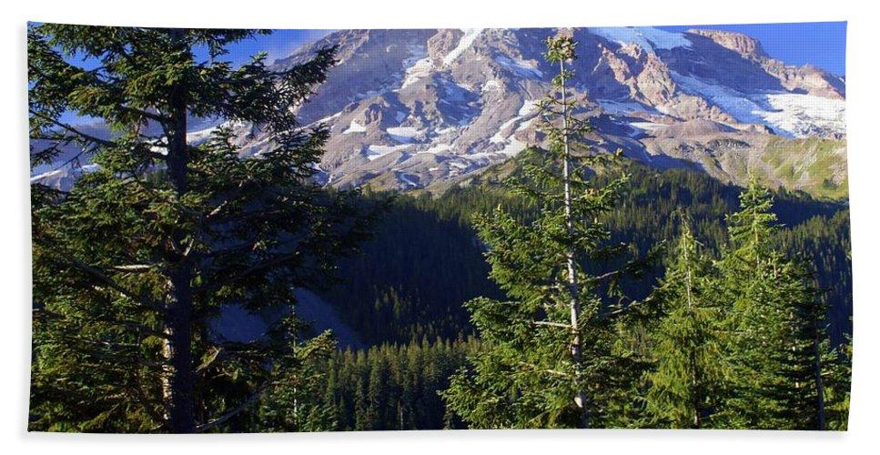 Mount Raineer Beach Towel featuring the photograph Mount Raineer 1 by Marty Koch