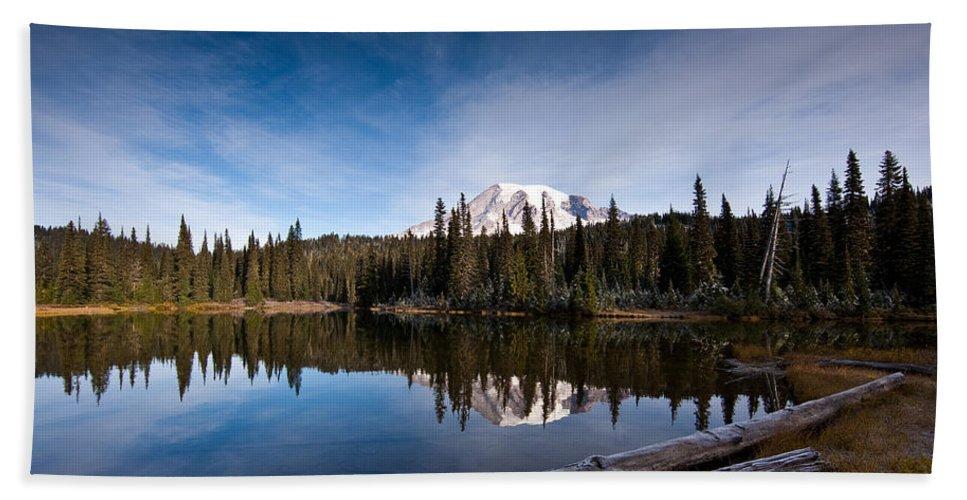 Mount Rainier Beach Towel featuring the photograph Mount Rainier Reflection by Mike Reid