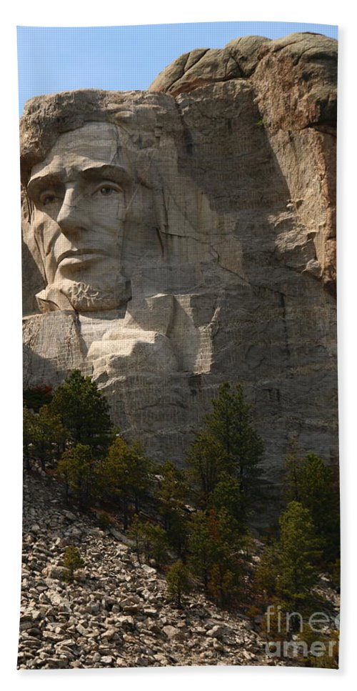 Mount Beach Towel featuring the photograph Mount Rushmoore Detail - Abraham Lincoln by Christiane Schulze Art And Photography