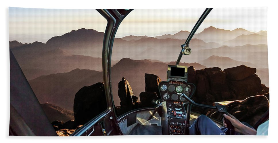 Mount Sinai Beach Towel featuring the photograph Mount Sinai Helicopter by Benny Marty