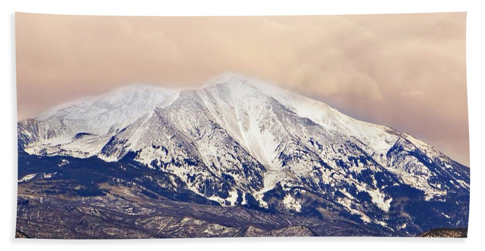 Americana Beach Sheet featuring the photograph Mount Sopris by Marilyn Hunt