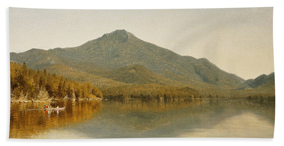 Sanford Robinson Gifford Beach Towel featuring the painting Mount Whiteface From Lake Placid by Sanford Robinson Gifford