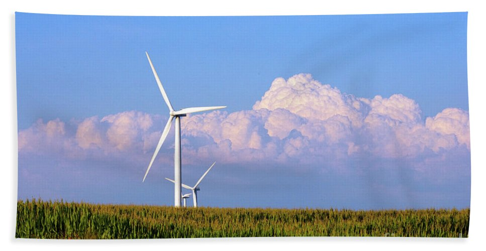 Art Beach Towel featuring the photograph Mountain Clouds And Windmills by Alan Look