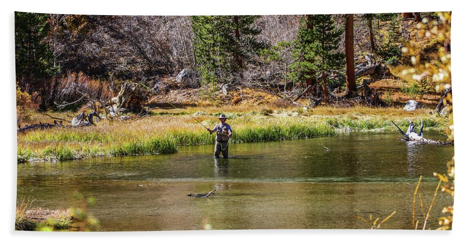 Bishop Beach Towel featuring the photograph Mountain Fisherman by Tommy Anderson
