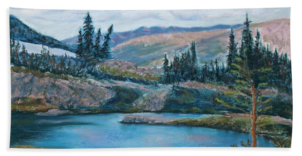 Mountain Beach Towel featuring the painting Mountain Lake by Mary Benke