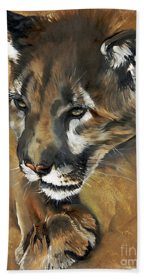 Southwest Art Beach Sheet featuring the painting Mountain Lion - Guardian Of The North by J W Baker