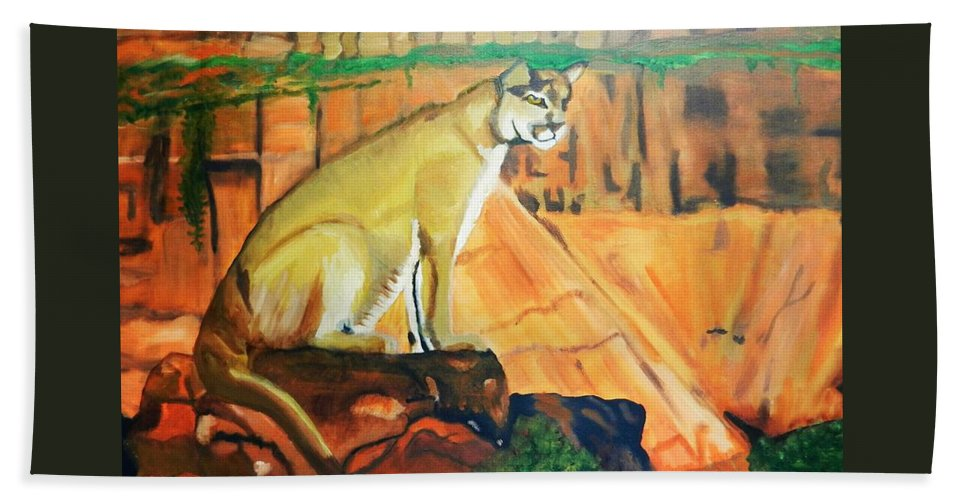 Animal Beach Towel featuring the painting Mountain Lion In Thought by Jo-Ann Hayden