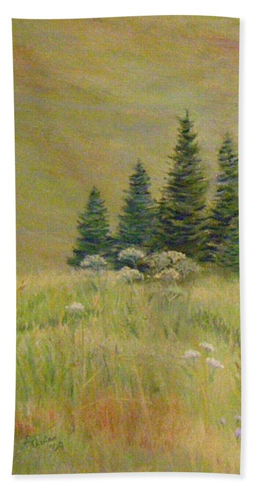 Landscape Beach Towel featuring the painting Mountain Meadow by Lynn Quinn
