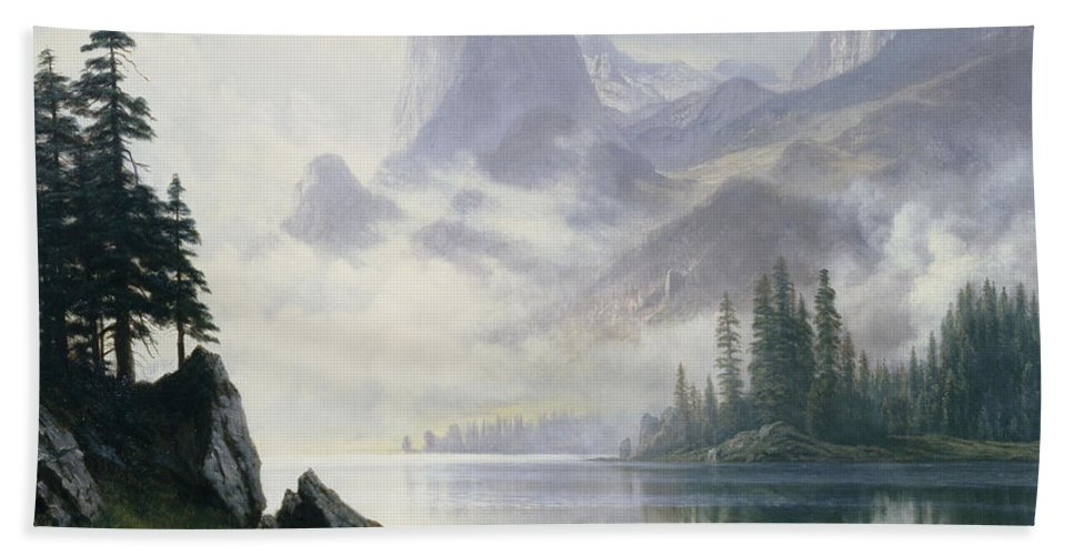 Lake; Mountains; Mountainous; American; Landscape; Misty; Fog; Foggy; Atmospheric Beach Towel featuring the painting Mountain Out Of The Mist by Albert Bierstadt