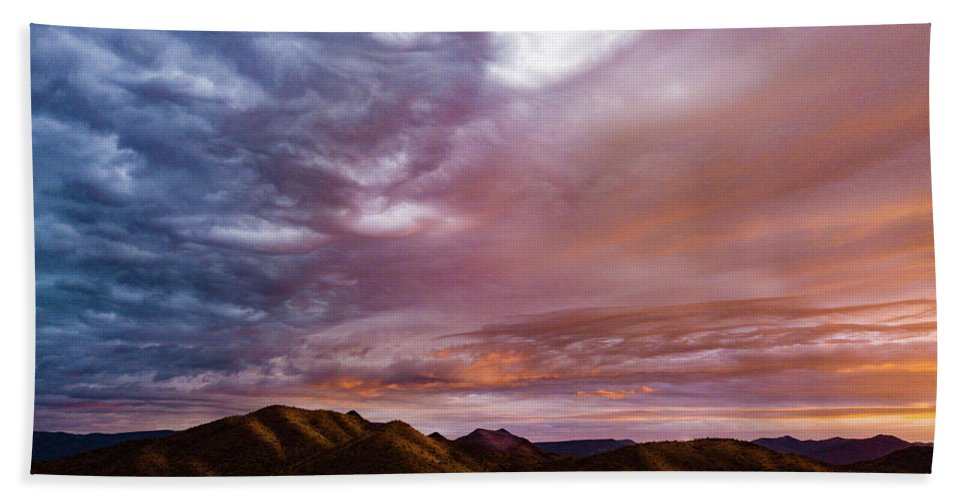 Drone Photography Beach Towel featuring the photograph Mountain Sunset In New River by David Stevens