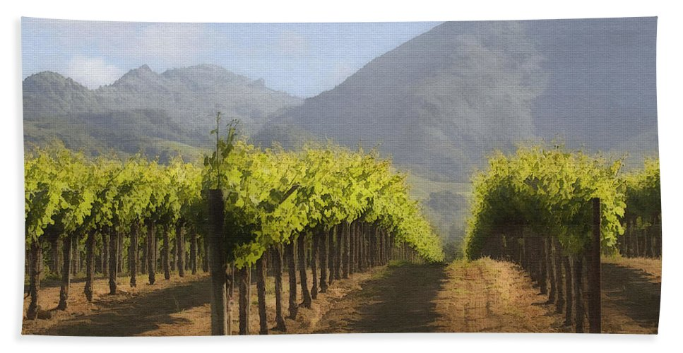 Mountain Beach Towel featuring the digital art Mountain Vineyard by Sharon Foster