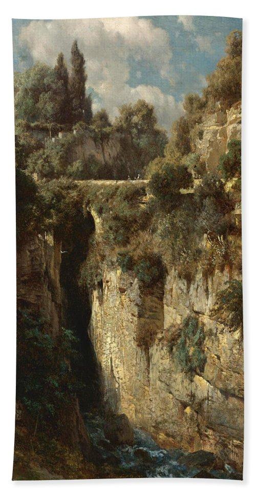 Johann Gottfried Steffan Beach Towel featuring the painting Mountainous Landscape With Waterfall by Johann Gottfried Steffan