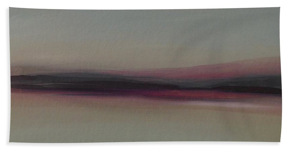 Landscape Beach Towel featuring the painting Mountains At Dawn by Michelle Abrams