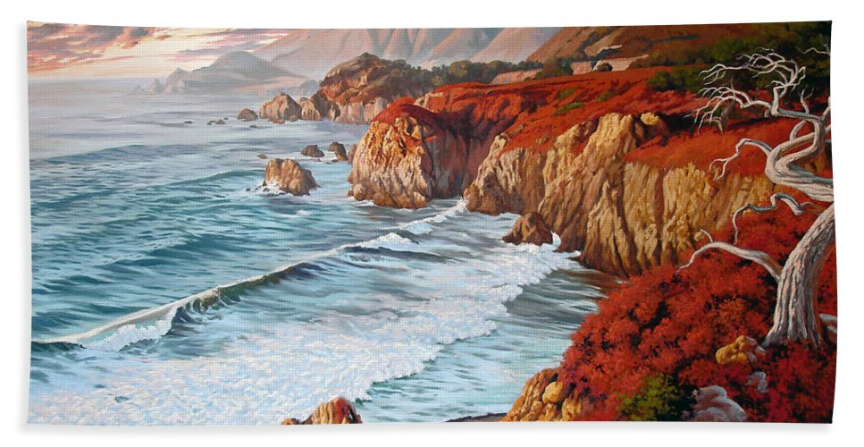 California Coast Beach Sheet featuring the painting Mountains Bow Down by Russell Cushman