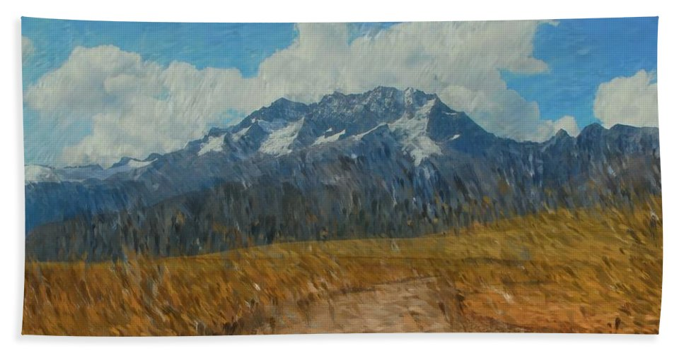 Abstract Digital Painting Beach Towel featuring the photograph Mountains In Puru by David Lane